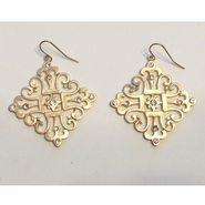 Earrings - Goldtone Filigree with Rhinestones