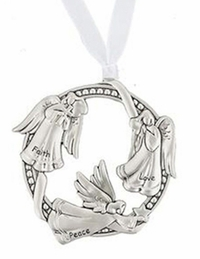Ganz 3 Angels Ornaments - Faith, Peace, Love