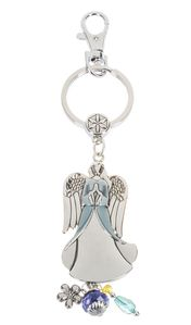 Ganz Angel Key Ring with Blue Colored Enamel