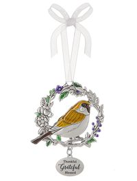 Ganz Bird Ornaments - Thankful Grateful Blessed