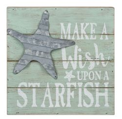 "Ganz Box Wall Plaque - ""Make a Wish Upon a Starfish"" Costal Sign"