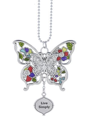 """Ganz Car Charms - Butterfly """"Live Simply"""""""