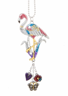 Ganz Car Charms - Flamingo with Colored Enamel
