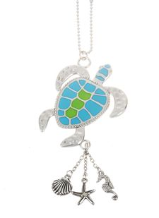 """Ganz Car Charms - """"Fun-in-the-Sun"""" Sea Turtle with Color"""