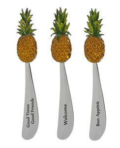 Ganz Cheese Spreaders - Pineapples with Color (Set of 3)