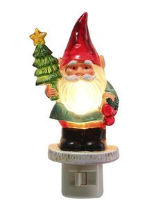 Ganz Christmas Bearded Santa Gnome Night Light