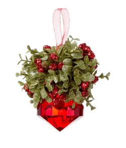 Ganz Kissing Krystals Mistletoe Ornament - Red Jewel 5""