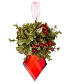 Ganz Kissing Krystals Mistletoe Ornament - Red Marquis 5""