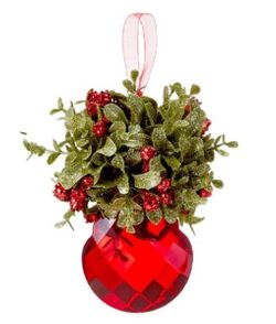 Ganz Kissing Krystals Mistletoe Ornament - Red Teardrop 5""