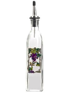 Ganz Kitchen Oil Bottle - Grapes with Colored Enamel