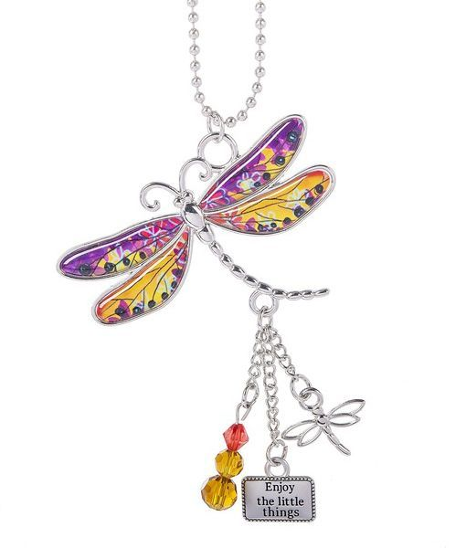 "Ganz ""Live with Joy"" Dragonfly Car Charms - Enjoy the Little Things"