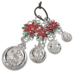 Ganz Measuring Spoons - Christmas Poinsettias with Color