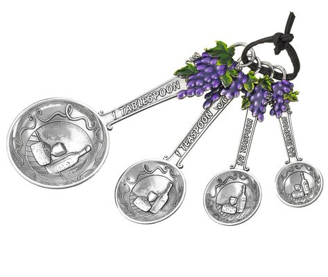 Ganz Measuring Spoons - Grapes with Colored Enamel