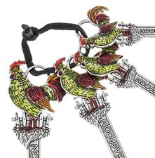 Ganz Measuring Spoons - Roosters with Colored Enamel