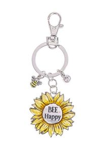 Ganz Springtime Flowers Key Rings - Bee Happy