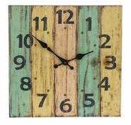 Ganz Urban Home Square Rustic Painted Wood Wall Clock