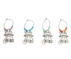 Ganz Grumpy Cat Metal Wine Charms - Set of 4