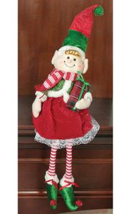 Hanna's Handiworks Christmas Striped Plush Dangle-Leg Elf Girl - 20""