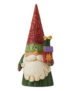 """Jim Shore Christmas Gnome Holding Gifts 4"""""""