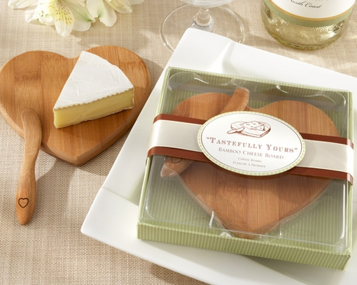 Kate Aspen Heart Shaped Bamboo Mini Cheese Board
