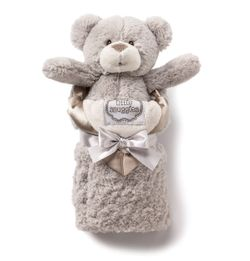 Kathy Ireland Plush Bear & Baby Blanket Set - Taupe