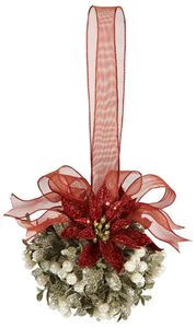 Ganz Mistletoe Door Decor Kissing Ball - Holly Kissed Poinsettia 5""