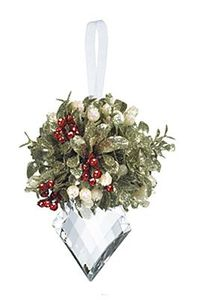 Ganz Kissing Krystals Mistletoe Holly Kissed Ornament - Marquis 5""