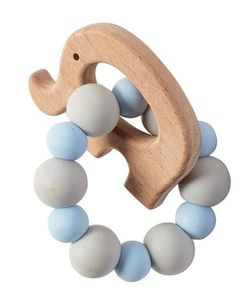 Mud Pie Baby Blue Elephant Wood & Silicone Teether