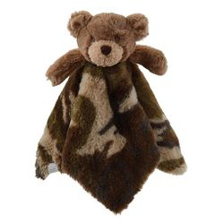 "Mud Pie Baby Camo Bear Plush Woobie 11"" x 6"""