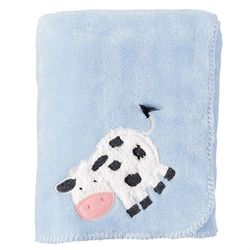 "Mud Pie Baby Cow Fleece Blanket - Blue 34"" x 28"""