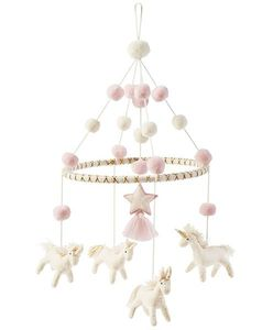 Mud Pie Baby Unicorn Wool Mobile