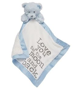 Mud Pie Baby Velour Word Woobies - Blue Bear
