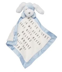 Mud Pie Baby Velour Word Woobies - Blue Puppy Dog