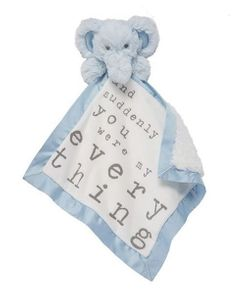 Mud Pie Baby Velour Word Woobies Blankie - Blue Elephant