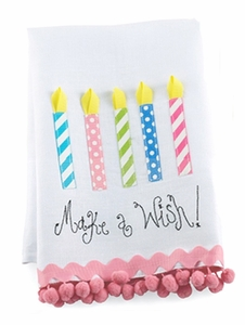 Mud Pie Birthday Candles Linen Towels - Make a Wish