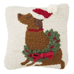 """Mud Pie Brown Dog Christmas Hooked Pillow 8"""" x 8"""""""