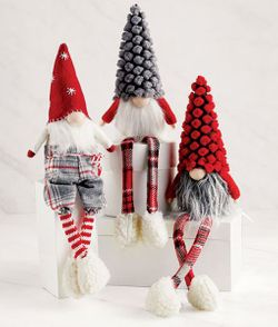 Mud Pie Christmas Dangle Leg Gnomes - SET of 3
