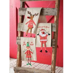 Mud Pie Christmas Holiday Character Dangle Leg Towels Set