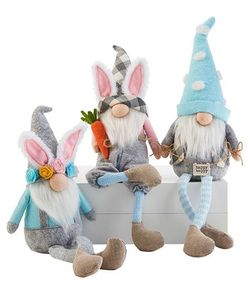"Mud Pie Easter Dangle Leg Gnomes 9"" - SET of 3"