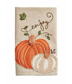 Mud Pie Fall Pumpkin Embroidered Kitchen Tea Towel - Enjoy