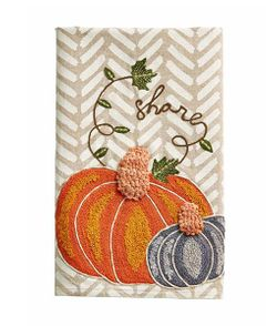 Mud Pie Fall Pumpkin Embroidered Kitchen Tea Towel - Share
