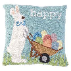 "Mud Pie Happy Easter Bunny Wool Hooked Pillow 12"" x 12"""