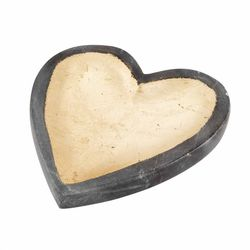 """Mud Pie Heart Shaped Trinket Dish - Gray Marble with Gold Foil 5"""""""