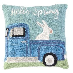 "Mud Pie Hello Spring Wool Hooked Pillow 12"" x 12"""