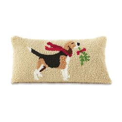 Mud Pie Holiday Beagle Dog Hooked Pillow