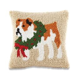 "Mud Pie Holiday Bulldog Hooked Pillow 8"" x 8"""