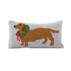 Mud Pie Holiday Dachshund Hooked Pillow