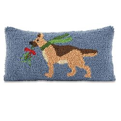 "Mud Pie Holiday German Shepherd Hooked Pillow 6"" x 12"""