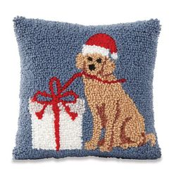 Mud Pie Holiday Labrador Retriever Hooked Pillow