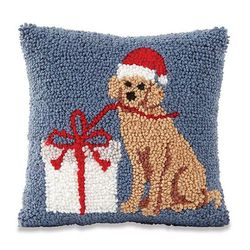 "Mud Pie Holiday Labrador Retriever Santa Hooked Pillow 8"" x 8"""